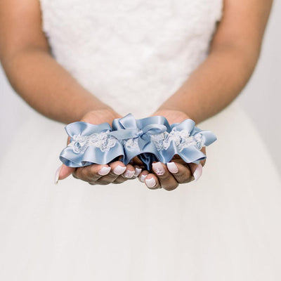 Shop our something blue wedding garter with lace handmade by The Garter Girl