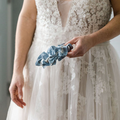 dusty blue and ivory satin designer wedding garter handmade by The Garter Girl