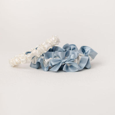 something blue and ivory wedding garter set handmade by The Garter Girl
