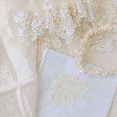 family heirloom wedding handkerchief made with bride's grandmother's veil by The Garter Girl