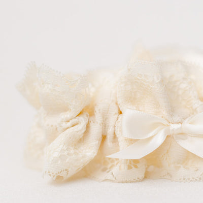 ivory luxury lace bridal garter handmade heirloom by The Garter Girl