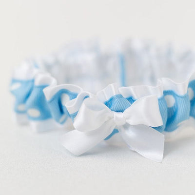 Blue With White Polka Dots Wedding Garter