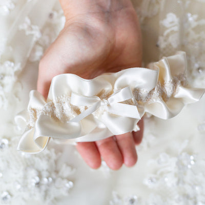 Modern Ivory Lace Wedding Garter