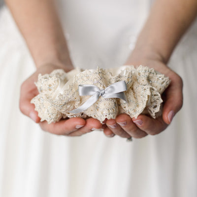 lux sparkle and lace wedding garter heirloom handmade by The Garter Girl