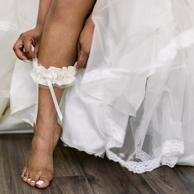 Shop our heirloom velvet wedding garter with ivory tulle and satin handmade by The Garter Girl
