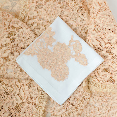 custom wedding handkerchief made with bride's mother's wedding dress lace by The Garter Girl