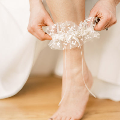 Wedding garter w floral tulle and satin handmade by The Garter Girl