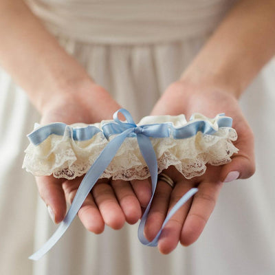 ruffle lace wedding garter heirloom - Head Over Heels by The Garter Girl