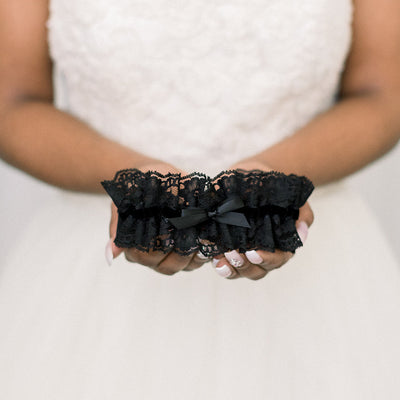 black lace and velvet wedding garter handmade by The Garter Girl