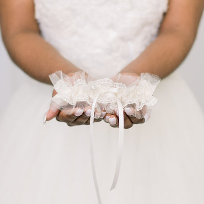tulle and lace wedding garter handmade by bridal garter designer, The Garter Girl