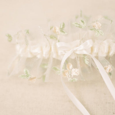 boho wedding garter with floral embroidered tulle handmade by The Garter Girl