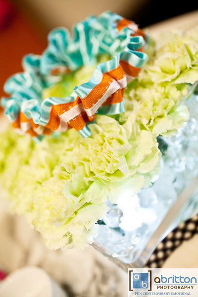 Aqua and Coral Unique Wedding Garter - The Garter Girl by Julianne Smith