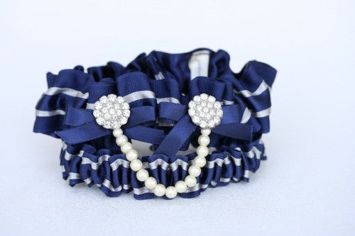 Custom Navy and Pearl Bridal Garter