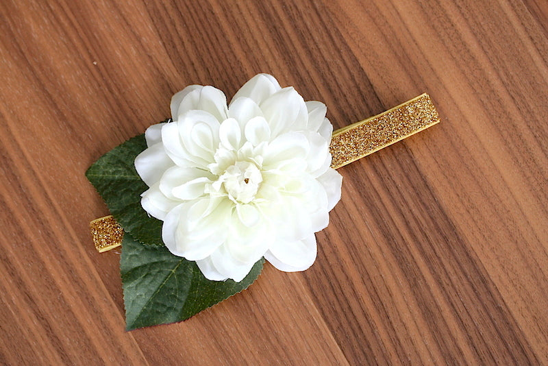 flower wedding garter with gold glitter band