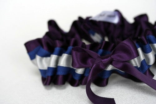 Gray and Purple Bridal Garter