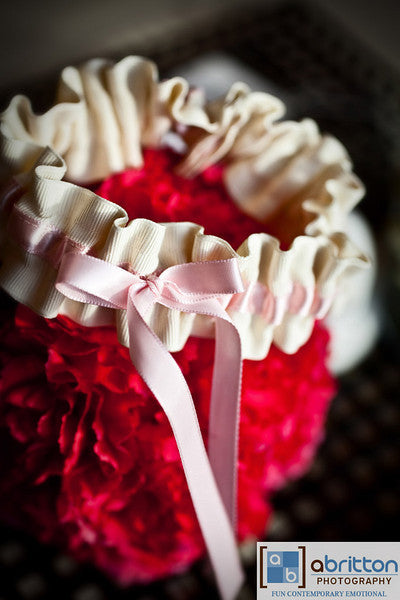 Ivory and Pink Simple Wedding Garter - The Garter Girl by Julianne Smith