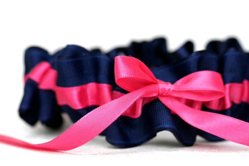 Navy Blue and Hot Pink Wedding-Garter-The-Garter-Girl-1