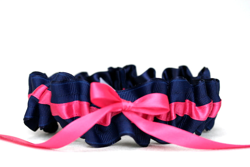 Navy Blue and Hot Pink Wedding-Garter-The-Garter-Girl-3