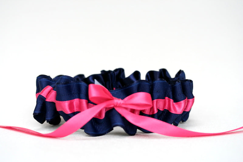 Navy Blue and Hot Pink Wedding-Garter-The-Garter-Girl