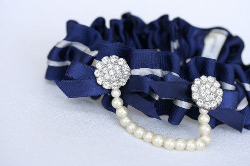 Navy and Pearl Bridal Garter (1)