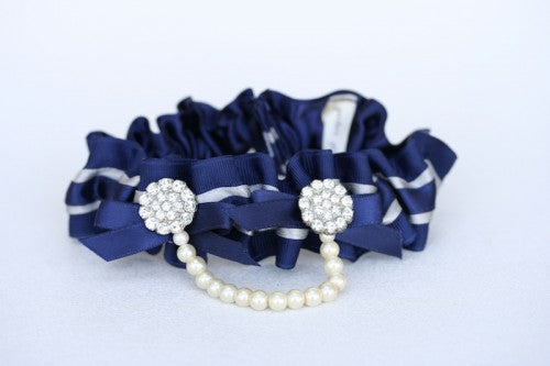 Navy and Pearl Bridal Garter (2)