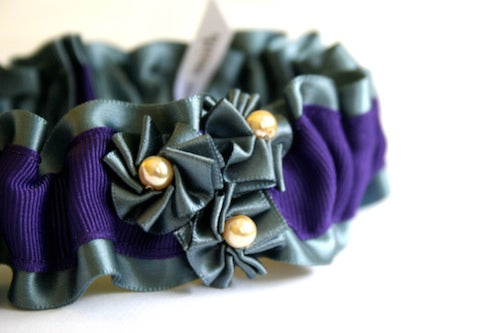 Pewter-gray-and-purple-elegant-garter-with-rosettes-The-Garter-Girl-by-Julianne-Smith