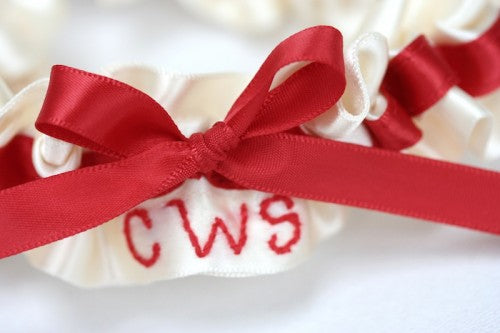 Red Monogram Bridal Garter