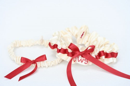 Red and Ivory Bridal Garter Set