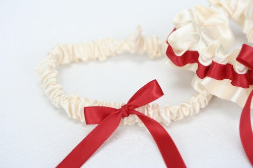 Red and Ivory Garter and Tossing Garter
