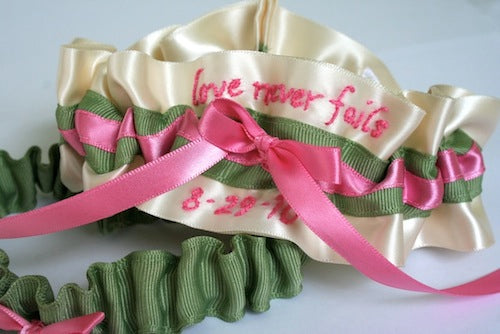 wedding garter set with pink and green