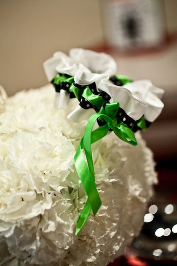 White-black-apple-green-garter-on-white-flowers-The-Garter-Girl-by-Julianne-Smith