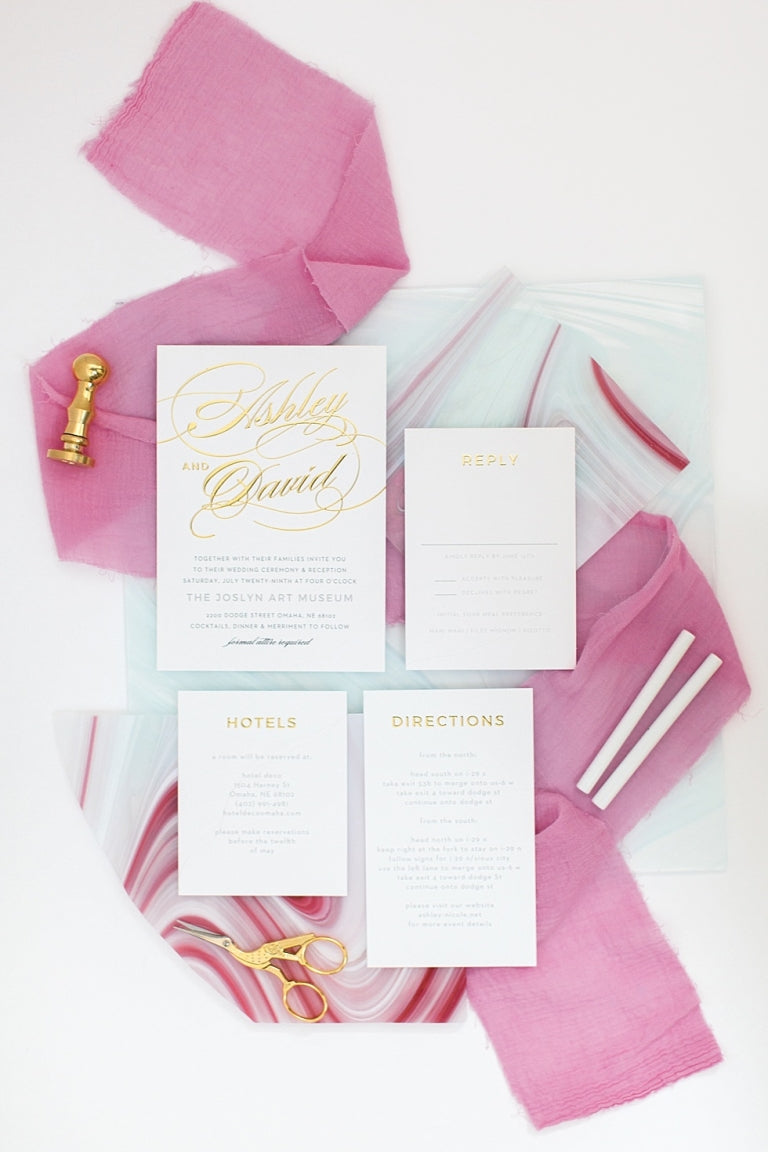affordable gold wedding invitation set