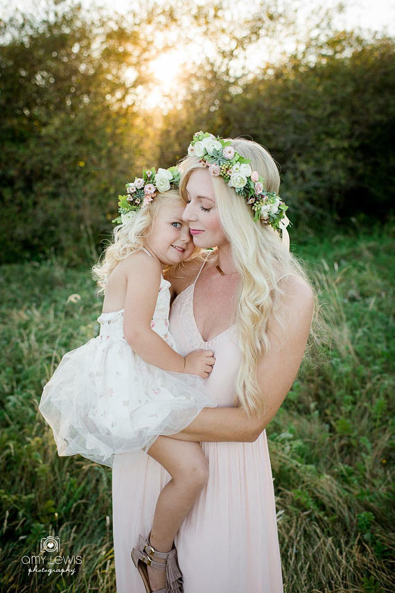 blush and cream bridal flower crowns on bride and flower girl