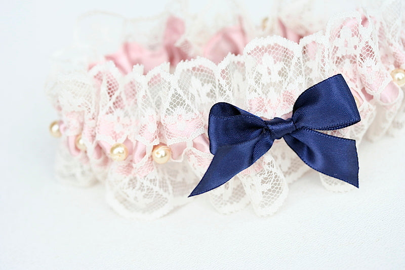 navy blue and blush custom wedding garter set