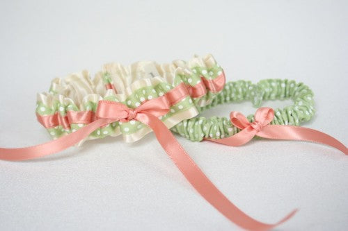 bridal-garter-set-ivory-coral-sage-polka-dot-The-Garter-Girl
