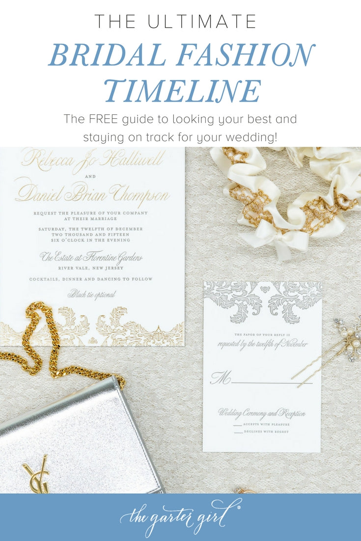 gold and sliver wedding accessories for the bride and invitations including a gold lace garter