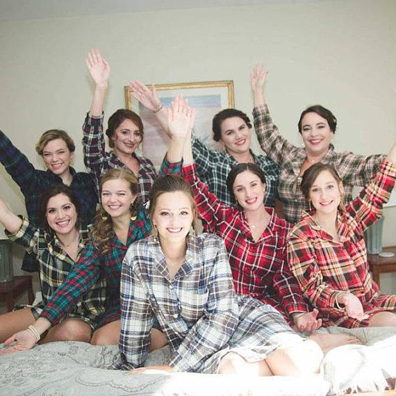 matching flannel shirts for bridesmaid gift