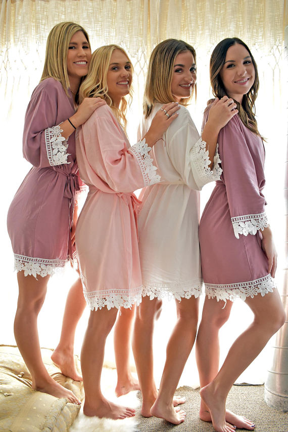matching lace robes for bridesmaid gift