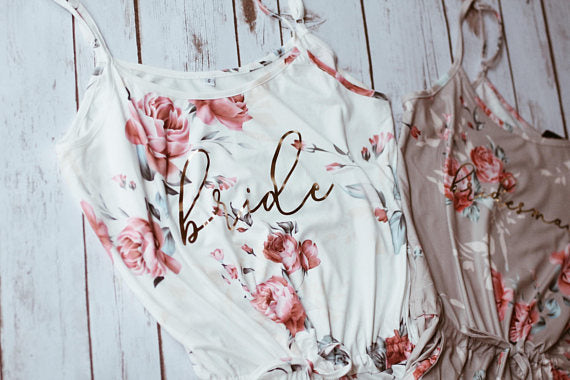 floral pj's for bridesmaid gift