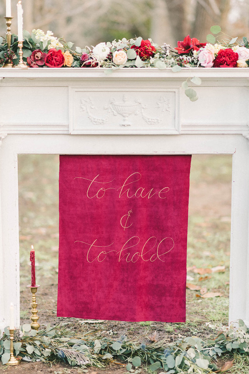 calligraphy-sign-luxurious-winter-wedding-inspiration-Liz-Fogarty-Photography