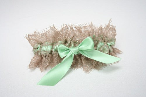 champagne and mint bridal garter