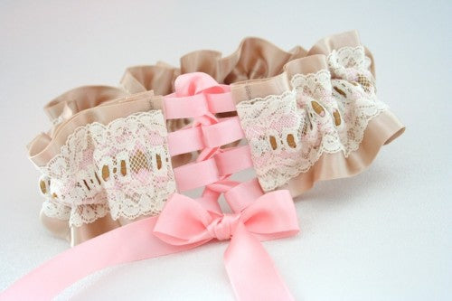 Champagne and Lace Wedding Garter with Pink Corset Closure