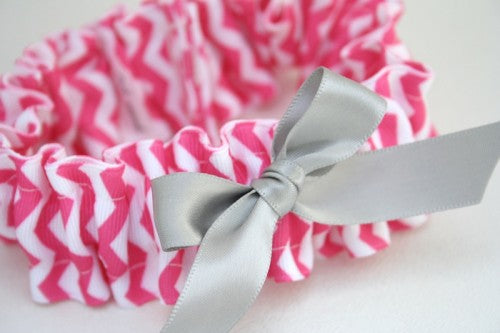 chevron-wedding-garter-hot-pink-gray-The-Garter-Girl-3