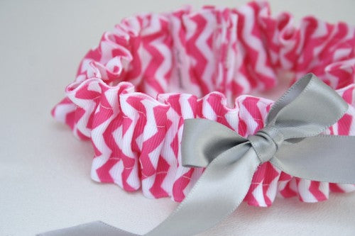 chevron-wedding-garter-hot-pink-gray-The-Garter-Girl