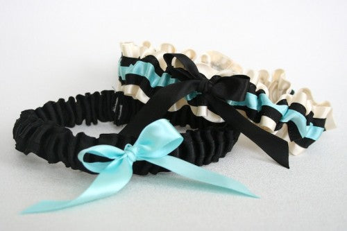 Chic Aqua and Black Wedding Garter Set