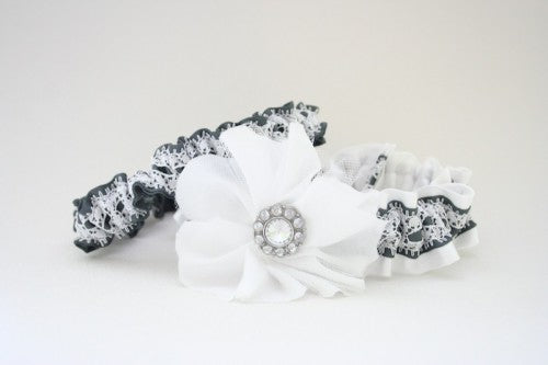 Chic Gray and White Lace with Flower Custom Wedding Garter Set
