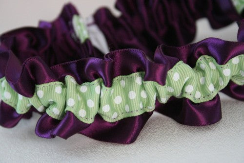 Chic Purple and Green Wedding Garter