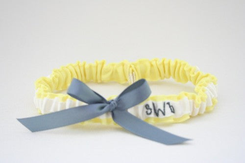 Chic Yellow White and Gray Wedding Garter