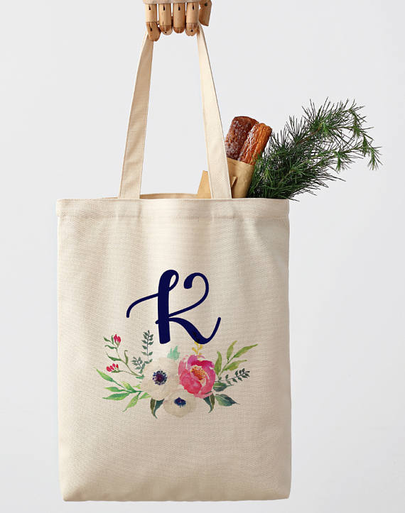 custom market tote bag for bridesmaid gift