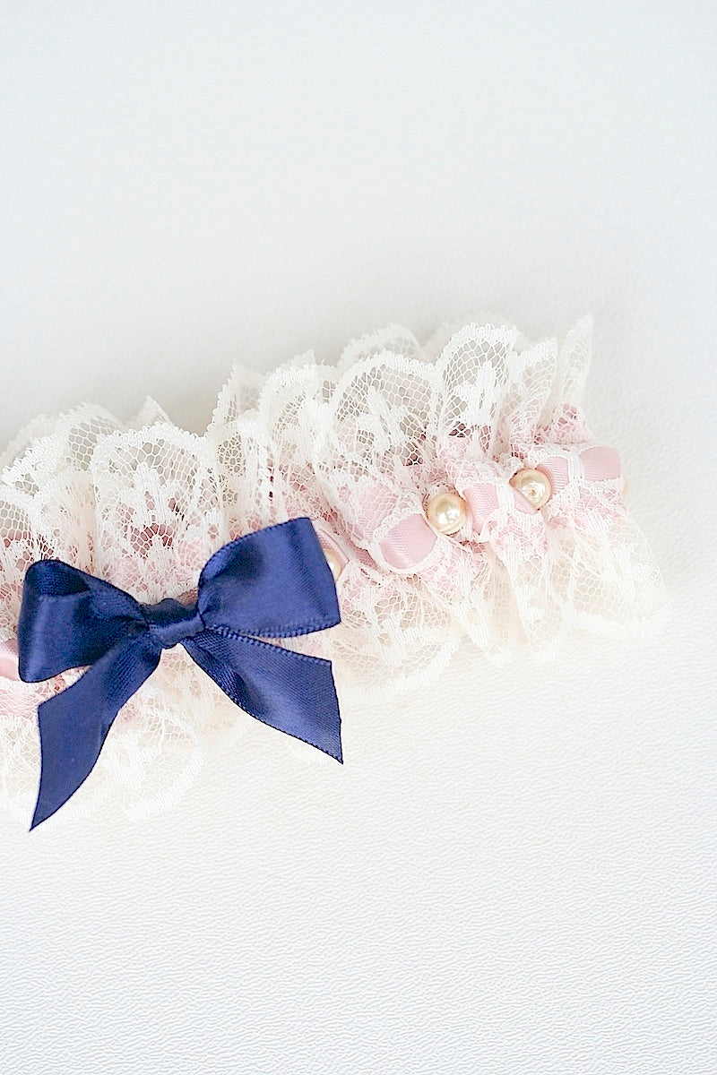 custom wedding garter set with pearls